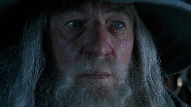 This is a closeup of Gandalf's face in The Lord of the Rings.