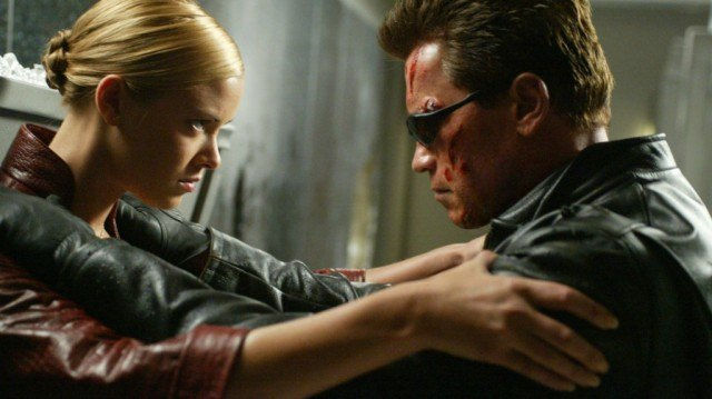 Kristianna Loken and Arnold Schwarzenegger in 'Terminator 3: Rise of the Machines'