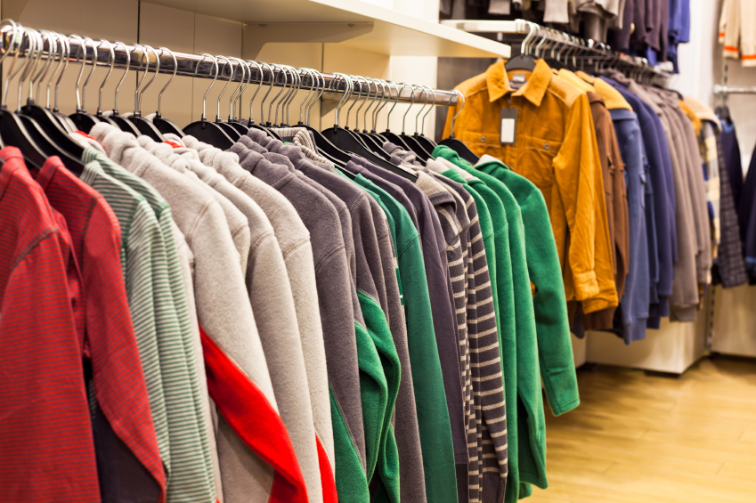 clothing in a store