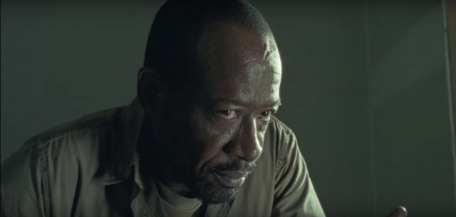 Morgan stares at one of the Wolves in a scene from 'The Walking Dead'