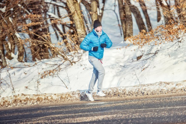 running outside on a winter day
