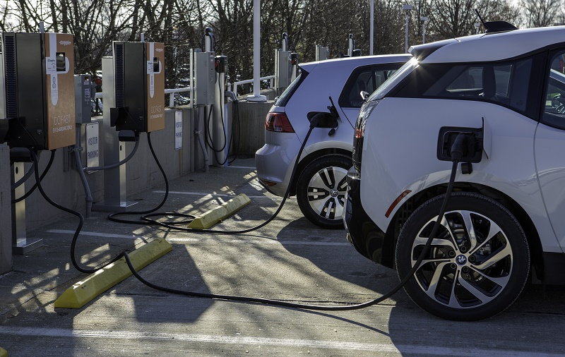 DC Fast Charging station with BMW i3 and VW e-golf plugged in