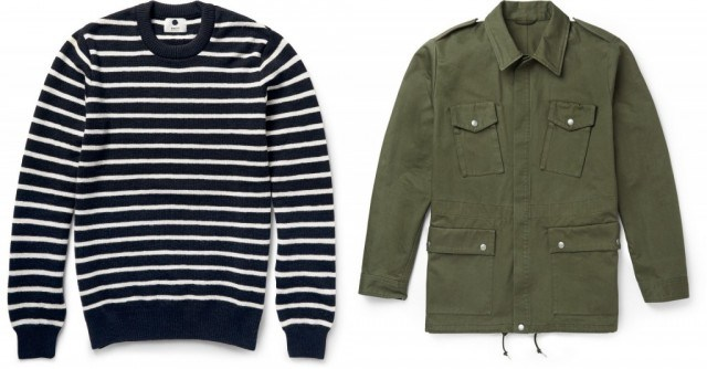 NN. 07 striped wool sweater and A.P.C. cotton field jacket