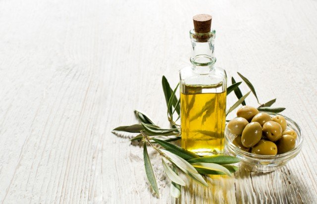 Olive oil in a glass container