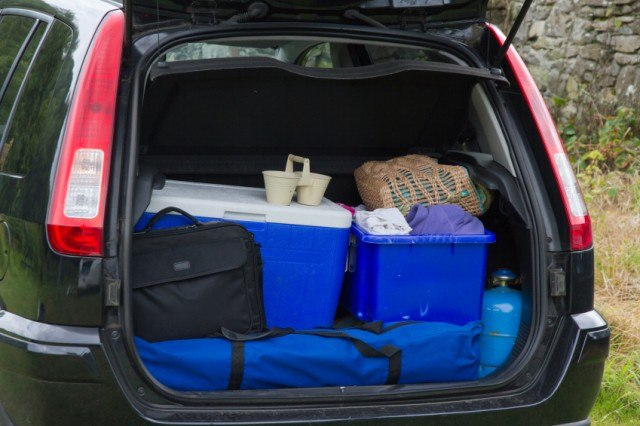 car trunk with cooler