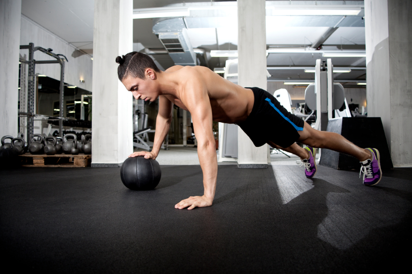 exercise, medicine ball push-up