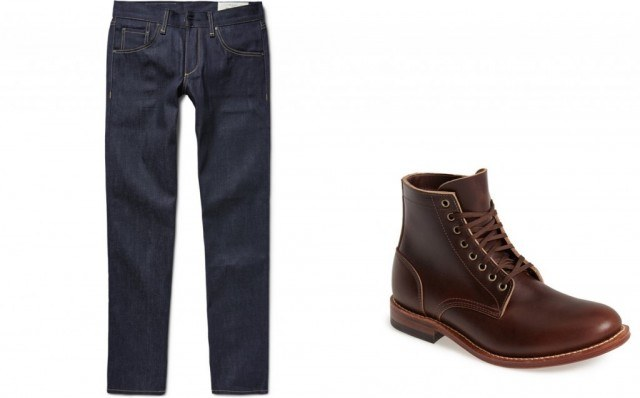 Rag & bone raw selvedge jeans and Oak Street Bootmakers trench boot