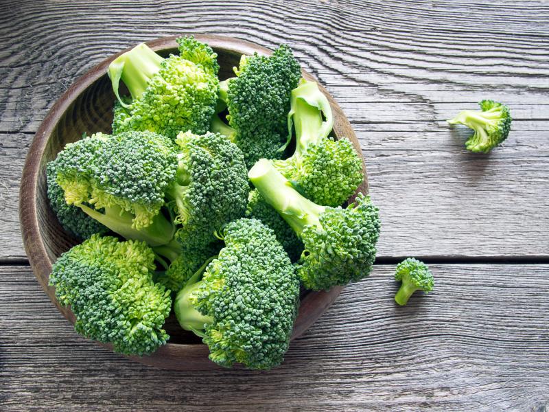 overhead shot of raw broccoli florets