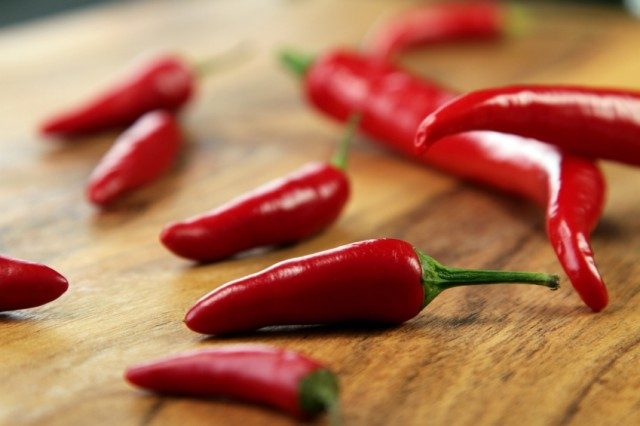 Red hot peppers on board