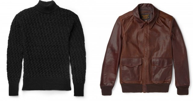 S.N.S. Herning waffle-knit wool sweater and Schott A2 leather flight jacket