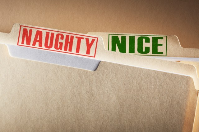 Folders labeled naughty and nice