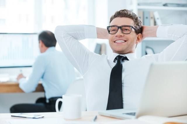 Man satisfied with work