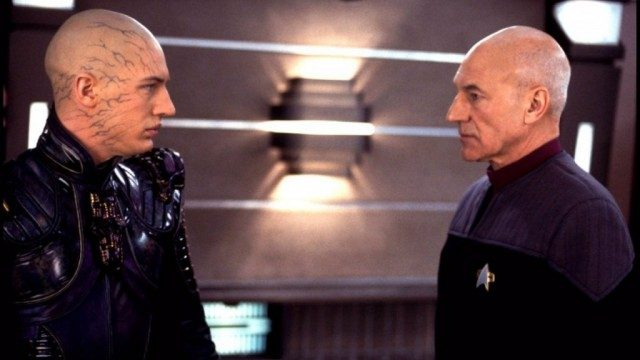 Tom Hardy and Patrick Stewart in Star Trek: Nemesis