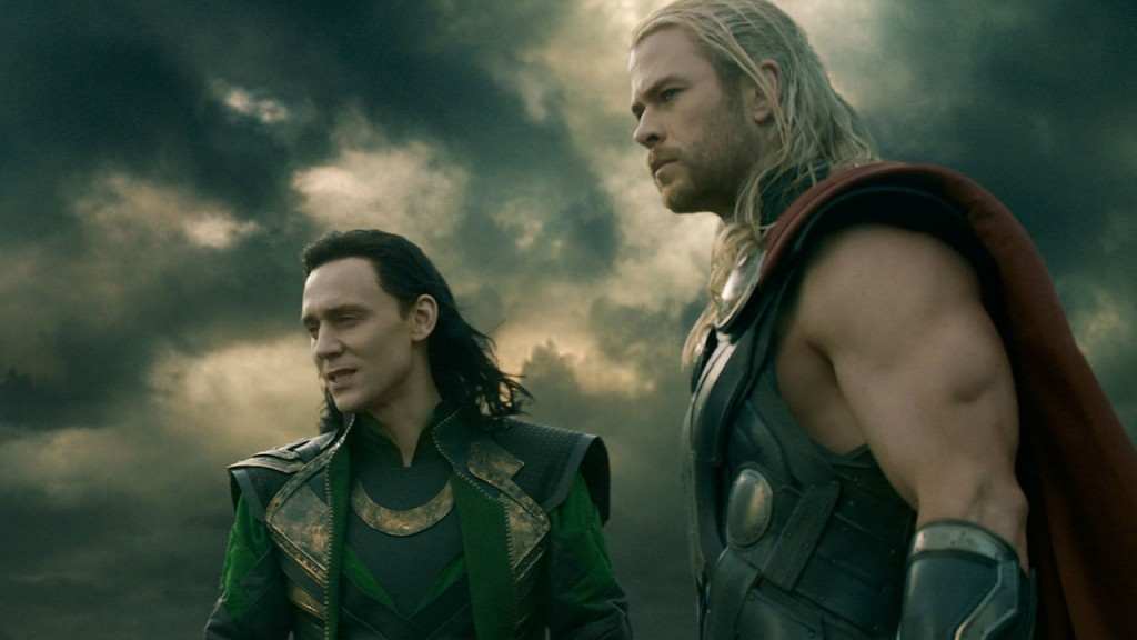 Tom Hiddleston and Chris Hemsworth in 'Thor: The Dark World'