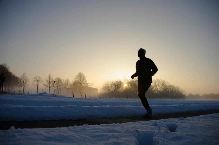 Man running in snow