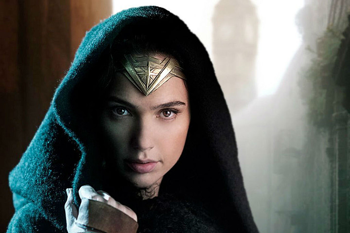 Actress Gal Gadot wearing a cloak in a preview image of Wonder Woman