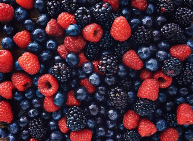 overhead image of mixed, fresh berries