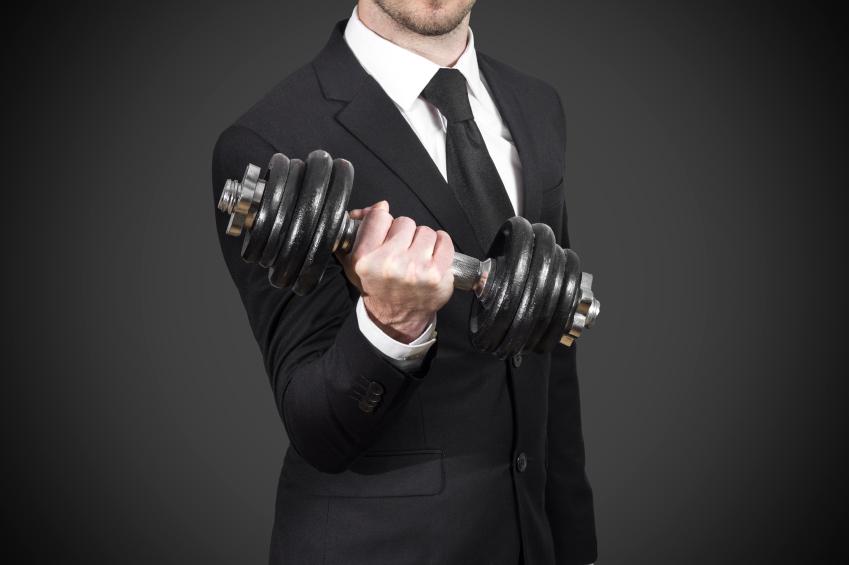 businessman weightlifting