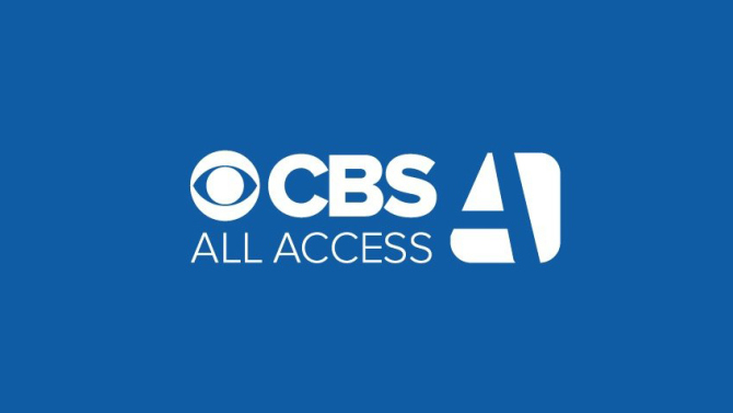 CBS's logo for their All Access streaming service on a blue background