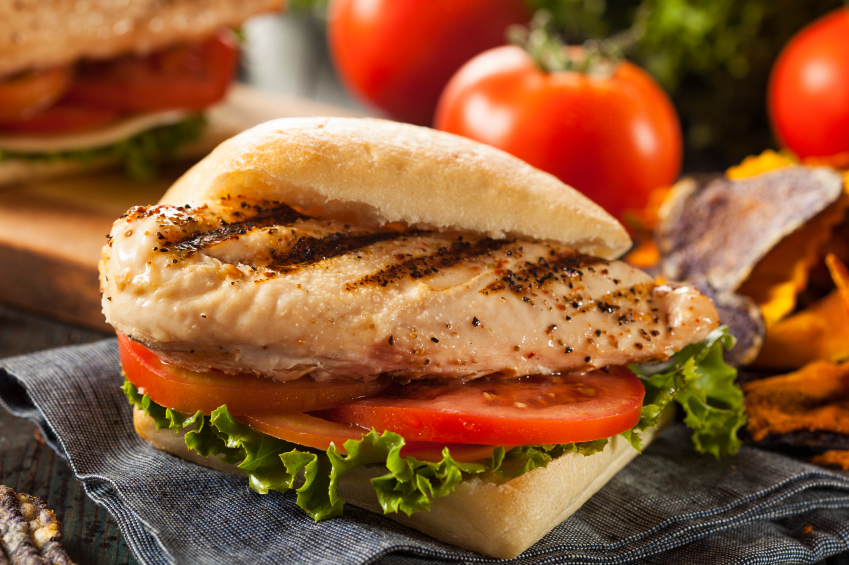 Healthy Grilled Chicken Sandwich with Veggie Chips