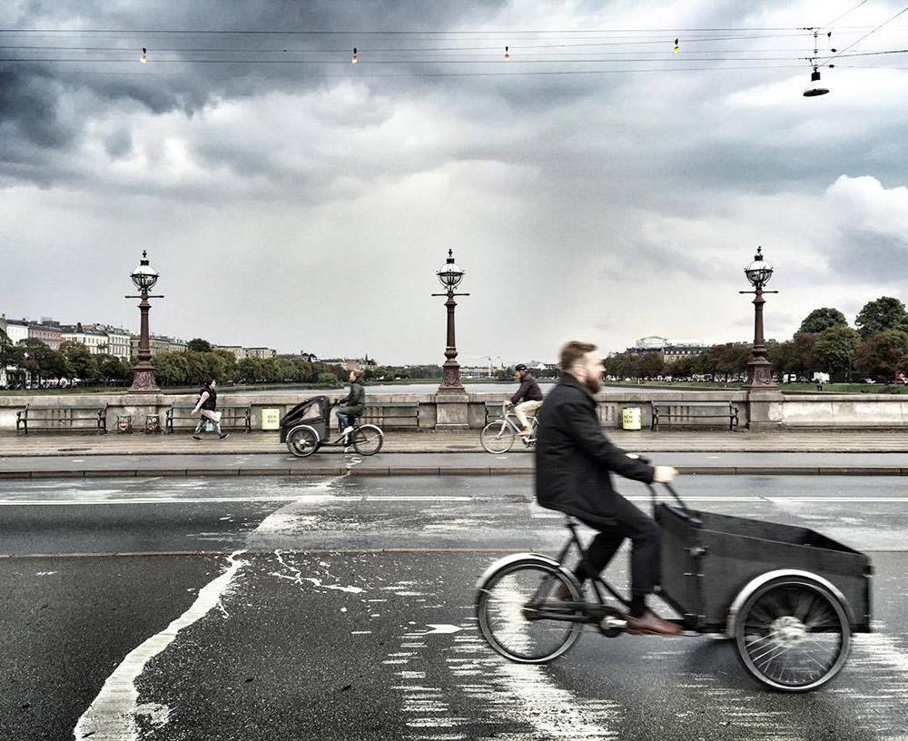 Cyclists rally around Copenhagen, Denmark