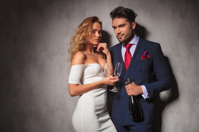 Man and woman with champagne