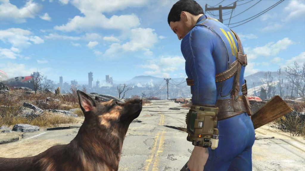 A nuclear blast survivor and his dog make their way through a destroyed futuristic Boston.