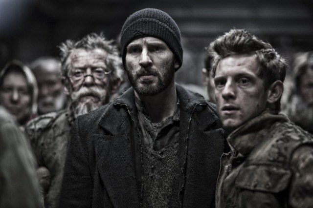 John Hurt, Chris Evans and Jamie Bell in 'Snowpiercer'