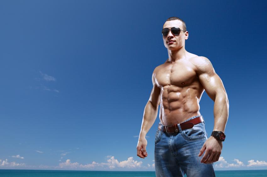 shirtless muscled man
