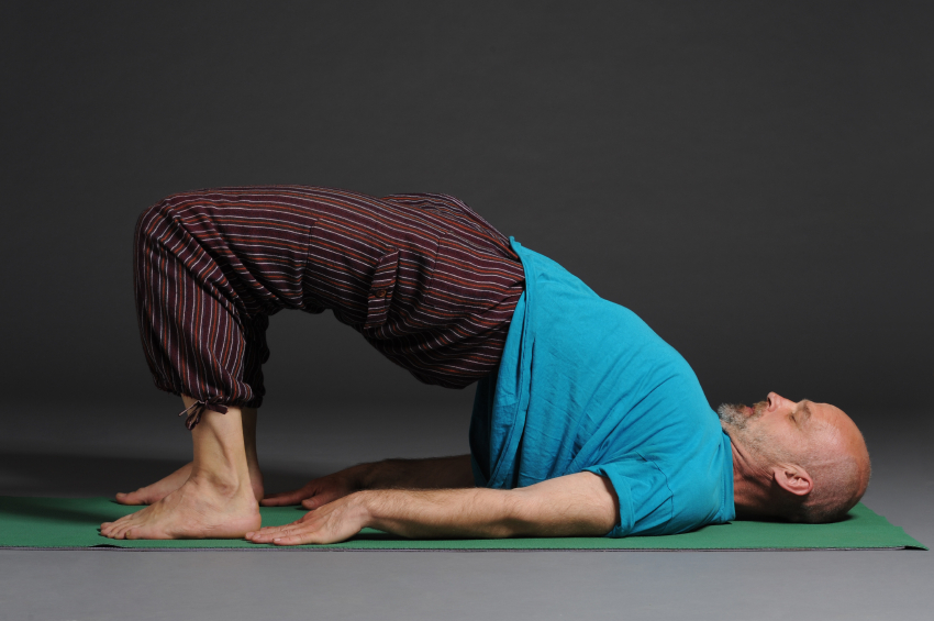 yoga, glute bridge, hamstring bridge