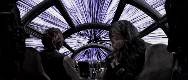 Han Solo and Chewie reaching light speed.