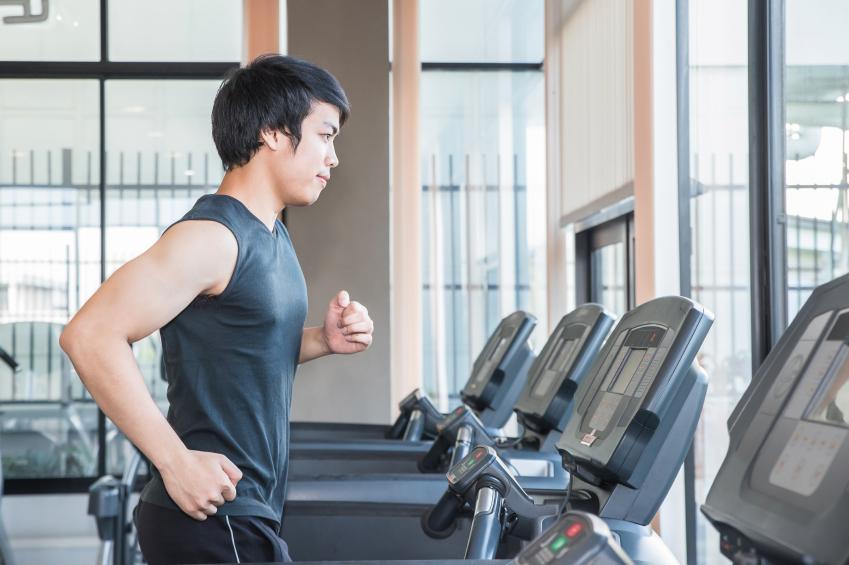 Man running on the treadmill