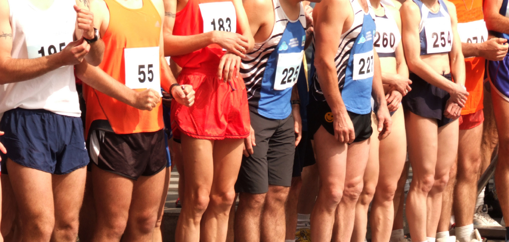Competitors lined up for the beginning of a race
