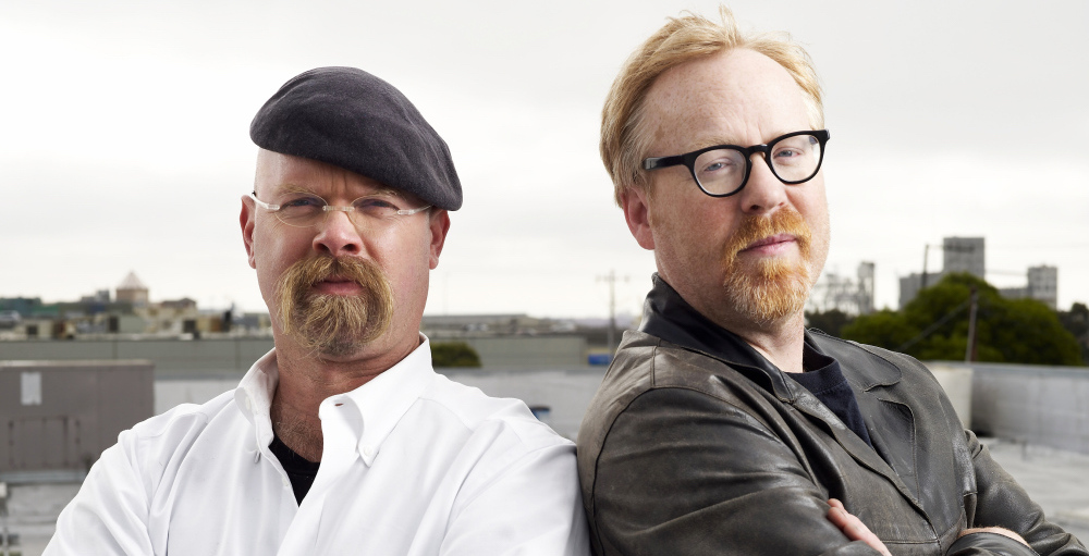 Adam Savage and Jamie Hyneman in a promotional image for Discovery's Mythbusters