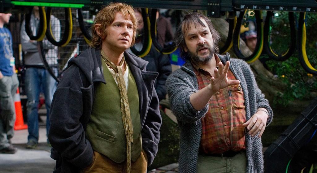 Peter Jackson directing Martin Freeman in The Hobbit trilogy