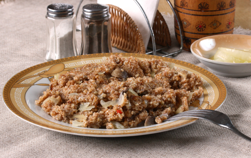oat risotto, porridge, mushrooms