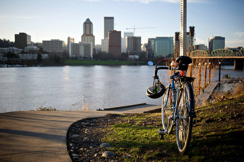 A bicycle and downtown Portland