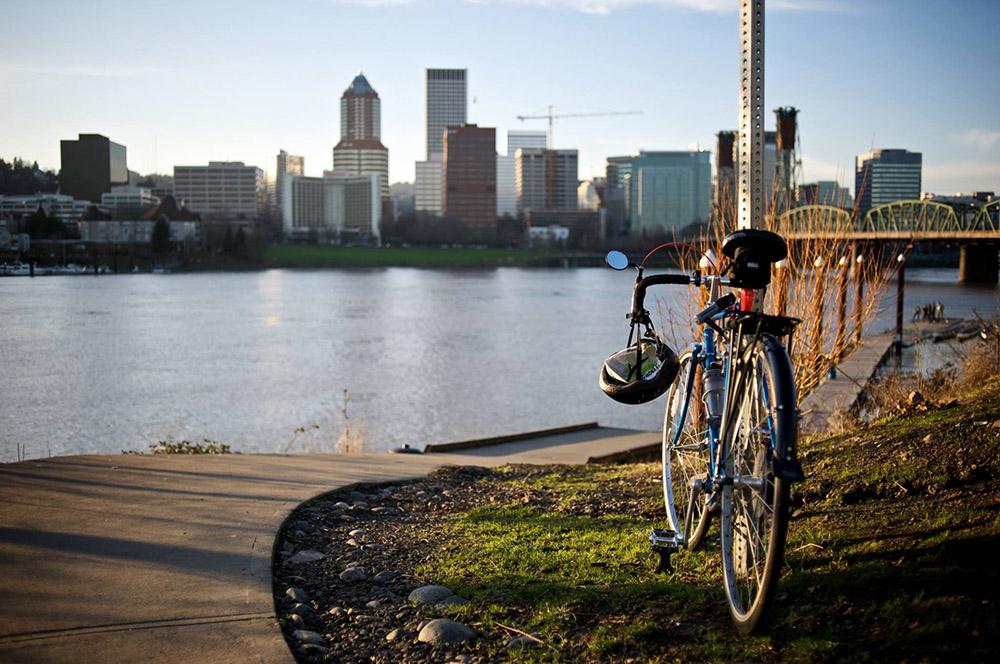 A bike and downtown Portland, Oregon