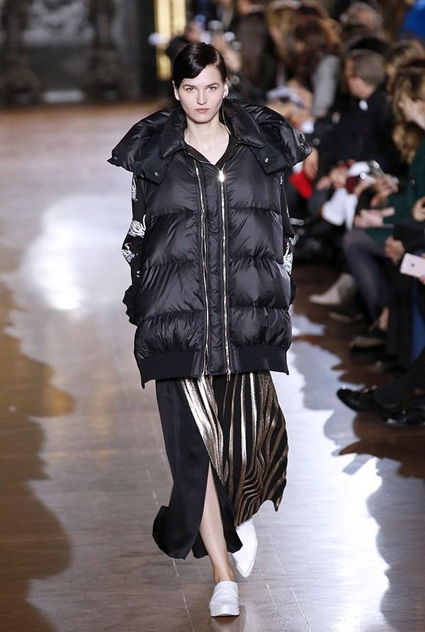 Model wearing a puffer jacket at a Stella McCartney show