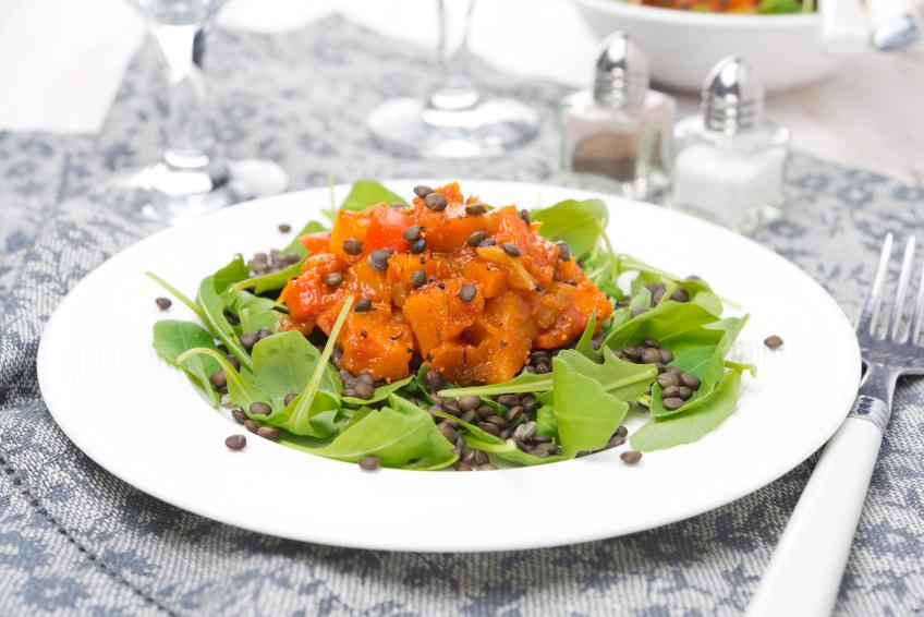 lentil, squash, arugula, salad