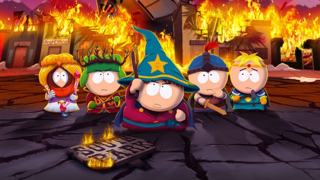 The South Park kids in their first video game.