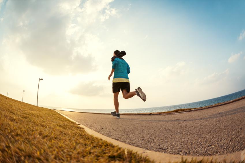man running alone, road