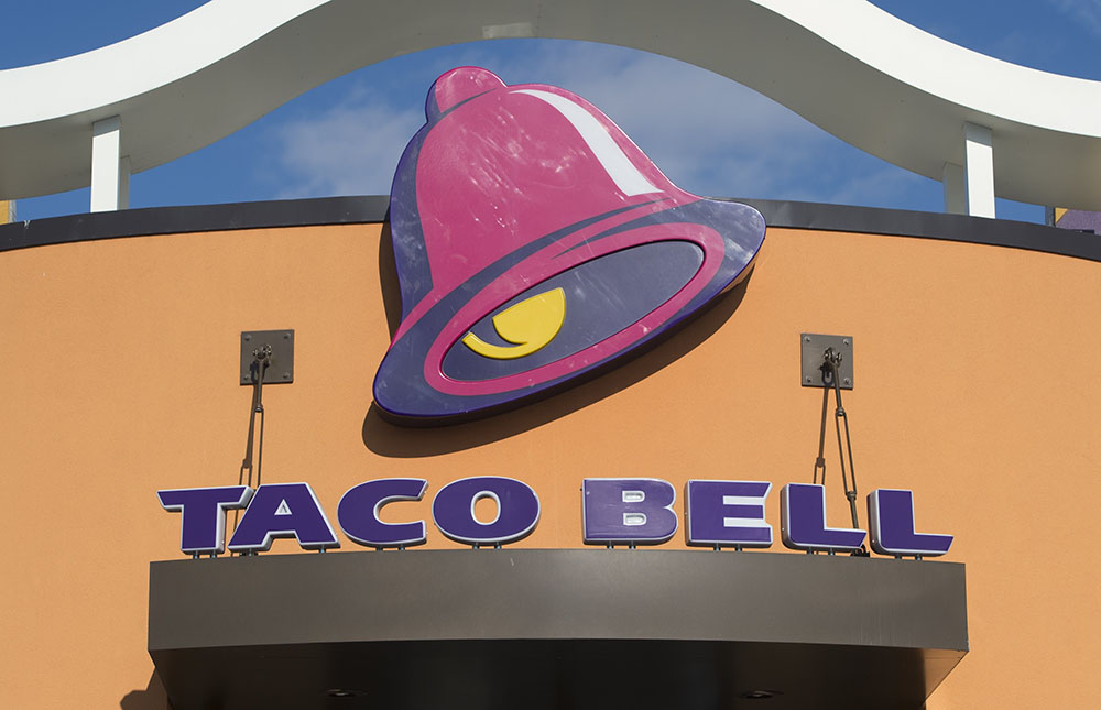 store sign at a Taco Bell