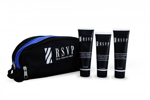 Travel bag and products from RSVP Skin Care