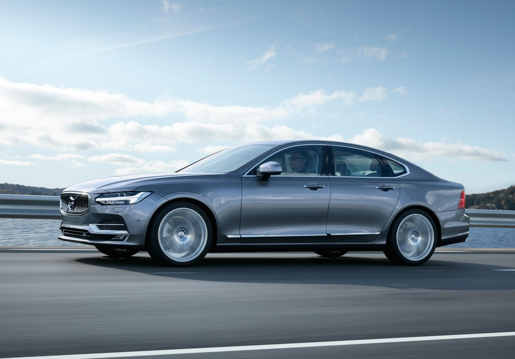 Gray Volvo S90 on the road.