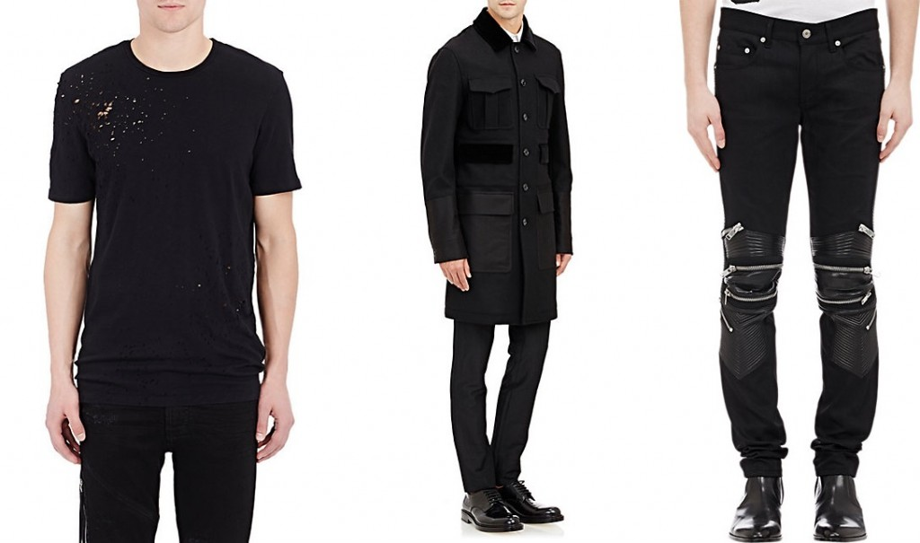 AMIRI tee, Alexander McQueen topcoat, Saint Laurent jeans at Barneys