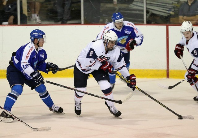 Hockey players during a game.