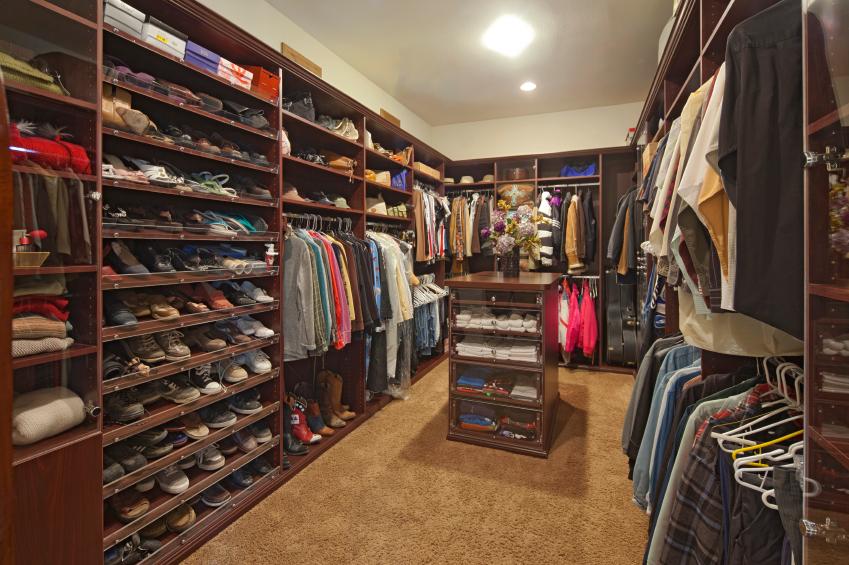 man's organized closet