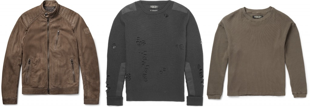 Belstaff jacket, Yeezy x Adidas sweater and tee