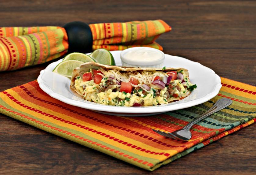 chorizo and egg breakfast tacos
